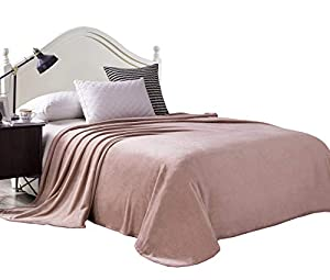 Exclusivo Mezcla Flannel Velvet Plush Bed Blanket - Soft, Lightweight, Warm and Cozy