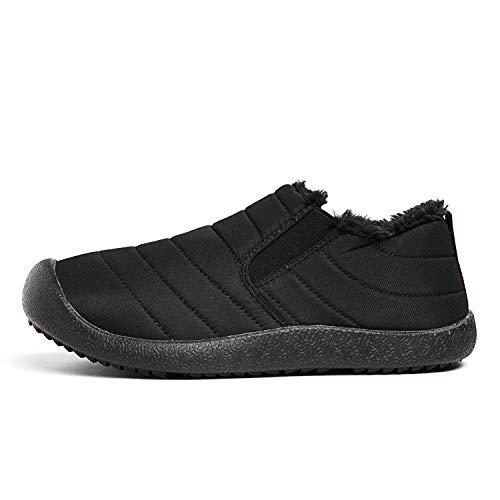 JOKIHA Black Boots Anti Fully Shoes Warm Fur Top Outdoor low Lined Snow Waterproof Winter Men's Slip Top Women High trv1qra
