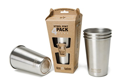 Klean Kanteen Stainless Steel Pint Cup Pack Of 4 (Stainless, 16-Ounce)