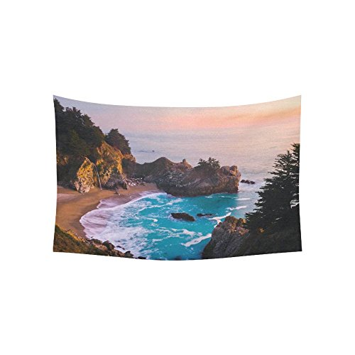 - INTERESTPRINT Nature Landscape Wall Art Home Decor, California Ocean Waterfall Mountain at Sunset Tapestry Wall Hanging Art Sets 60 X 40 Inches