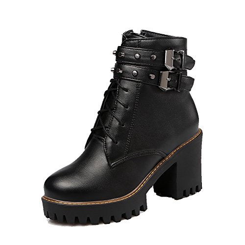 Heels Low Top Boots Black Pu Zipper Solid Women's Allhqfashion High qYR77t