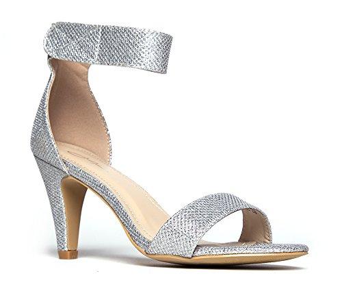 J. Adams Ankle Strap Open Peep Toe High Heels, Silver Glitter, 6 B(M) US