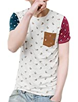 Allegra K Men Color Block Paisleys Novelty Print T-Shirt