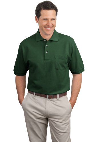 Shirt Pique Polo Pocket - Port Authority Men's Pique Knit Polo with Pocket L Dark Green