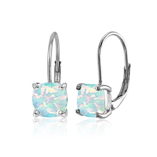 Sterling Silver Simulated White Opal 7x7mm Cushion-Cut Leverback Earrings Cushion Cut Gemstone Leverback Earrings