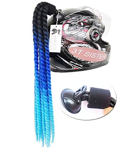 3T-SISTER Suction Cup Ponytail Motorcycle Helmet Pigtails Curly Braids Hair Synthetic Fibre Pony Tails Ombre Color 22Inch