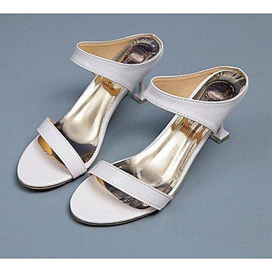 Las mujeres 039 s sandalias verano PU confort informal conjunta dividida Stiletto talón Ruby Negro Blanco 1A-1 3 4 UK5.5 inWhiteUS7.5 UE38 CN38
