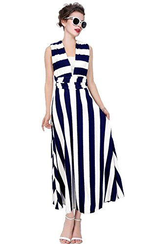 DatingDate Women Multi-way 5 Uses Striped Halter V-neck Backless Maxi Dress Large