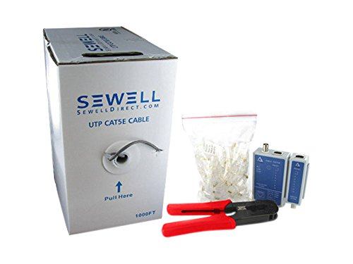 Sewell Network Cable Kit - Cat5e, Connectors, Crimpter, a...