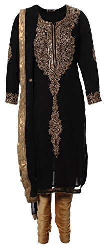 AzraJamil-Vintage-Georgette-Gold-Work-Churidar-Suit-Black-Gold