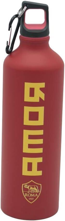 Botella térmica AS Roma de aluminio con logotipo de la Roma Amor, color rojo con mosquetón y tapón de rosca, producto oficial, altura 26 cm, capacidad 800 ml, texto doble color, para niño o mujer