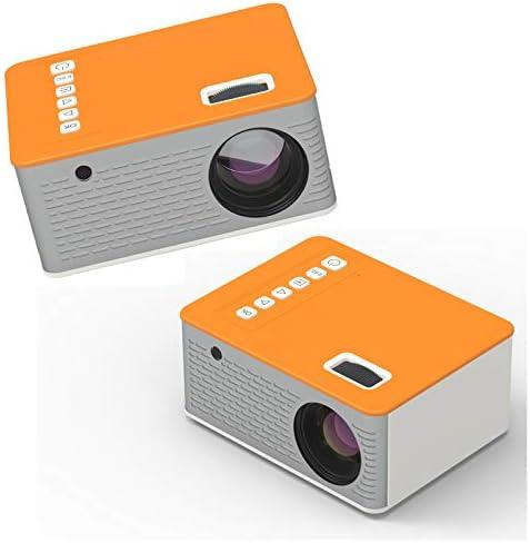 ミニプロジェクター、10ANSIルーメンポータブルビデオホームムービープロジェクター、20000時間LEDランプ寿命、フルHD 1080Pでサポート。-orange-USAStandard