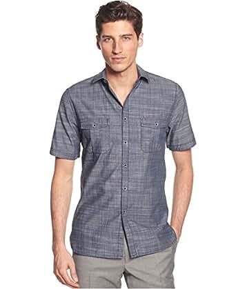 Alfani Men 39 S Warren Short Sleeve Solid Textured Button Up