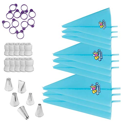 Baker's Dozen 41pc Piping Bags-Cake Decorating Supplies\Cake Decorating Kit-Icing Bags Reusable x9,Piping Tips x6,Coupler x6,Pastry bag Ties x10-BONUS 10 Frosting bags Baking Supplies/Cake decorating.