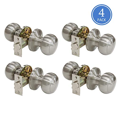 609 Door Knob Sets Passage Function Door Lock Keyless Interior Door Handles Brushed Nickel Finish, Unlocking Door Knobs Contractor Pack of 4, Flat Ball Style