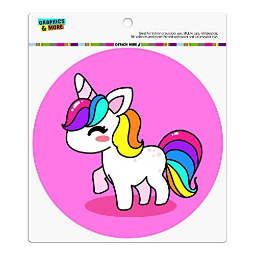 Graphics and More Cute Kawaii Rainbow Unicorn Chibi Automotive Car Refrigerator Locker Vinyl Circle ()