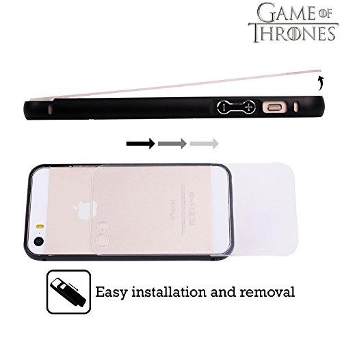 Officiel HBO Game Of Thrones Toutes Les Maisons Symboles D'or Noir Étui Coque Aluminium Bumper Slider pour Apple iPhone 5 / 5s / SE