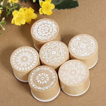 (Assorted Floral Vintage Style Round Shape Wooden Rubber Stamp - Stationery Stamp & Bookmarks - 6 pcs X Rubber Stamp Details Pictures :s )