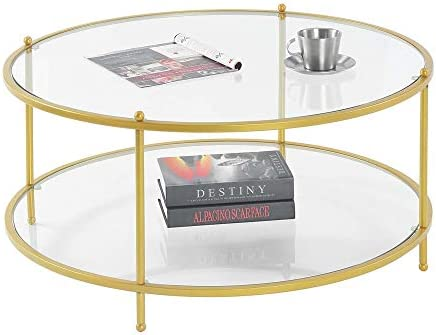 Convenience Concepts Royal Crest 2 Tier Round Glass Coffee Table