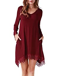 Women Casual Soft Long Sleeve Pockets Lace Stretchy Swing...