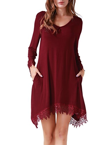Invug-Women-Casual-Soft-Long-Sleeve-Pockets-Lace-Stretchy-Swing-T-shirt-Dress-Dark-Red-XL
