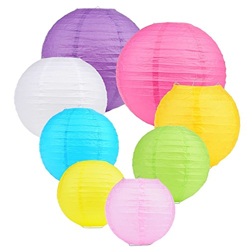 Colorful Paper Lanterns with Lights - 10 Lantern Pack with 11 LED Lights | 12,10,8,6 Inches | Multi Color Hanging Lanterns for Festival, Event, Birthday Party and Classroom Decorations