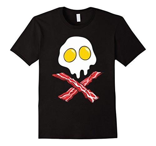 Black Bone Cross (Men's Eggs And Bacon Skull And Cross Bones Black Adult T-Shirt Small Black)