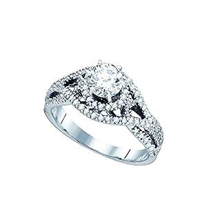 14K White Gold Womens Round Diamond Woven Openwork Bridal Wedding Engagement Ring 7/8 Cttw