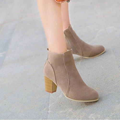 Botas Mujer,Ouneed ® Botas de mujer elegantes zapatos de tacón alto Botas de invierno de otoño Martin marrón