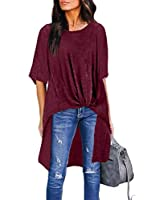 ZKESS Women Stylish Round Neck Casual Half Short Sleeve Solid Blouse Loose High Low Shirts