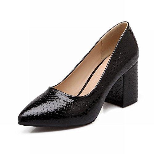 Charme Voet Mode Dames Stevige Hak Pumps Puntige Schoenen Zwart