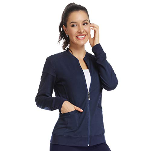 Scrub Jackets for Women Zip Front Warm-Up Jacket Navy Blue