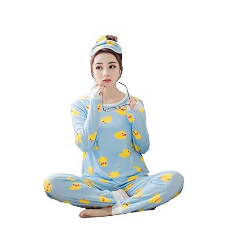 Big Girls/Teen Girls/Women's Yellow Duck Long Sleeve Pajama/PJ Set (Blue, XL fits Weight 120-135 lbs,Height 64-65