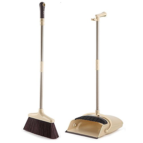 Price comparison product image Broom and Dustpan set,  ALLCR Grips Sweep Set with Lobby Broom,  Dustpan and Brush Set for Sweeping Office or Home(Brown)