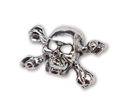 Real Metal Gothic Skull Crossbones Jacket Hat Pin Polished Silver Finish Pewter - Pin Crossbones