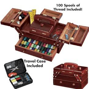 Small Portable Classic Wooden Sewing Box