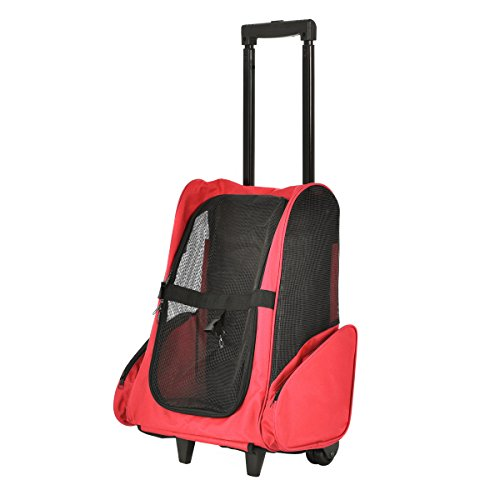 Giantex 4 Color Pet Rolling Dog Cat Carrier Back Pack Travel Airline Wheel Luggage Bag (Red)