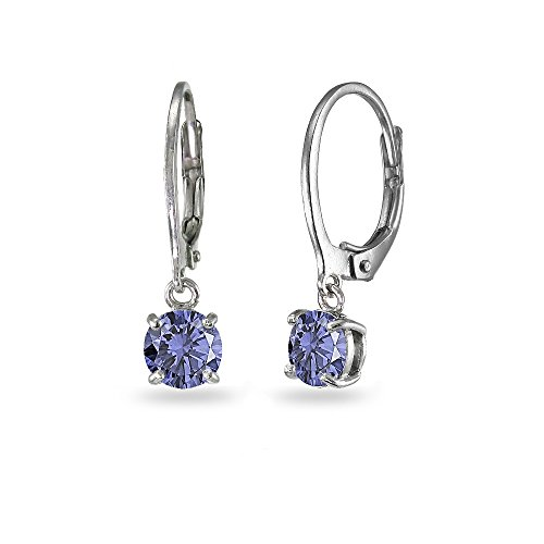 LOVVE Sterling Silver Simulated Tanzanite 6mm Round Dangle Leverback Earrings (Earrings Tanzanite Dangling)
