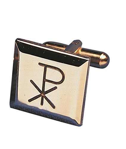 (Mens Gold Toned Base Cuff Links for Dress Clerical Shirt, 1/2 Inch (Chi Rho))