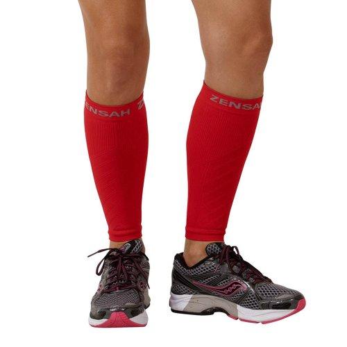 (Zensah  Compression Leg Sleeves, Red, Large/X-Large)