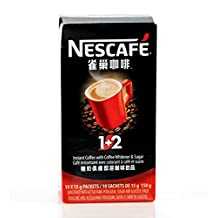 Nescafe 1+2 Instant Coffee with Creamer and Sugar (10 Packets), 6 Ounce Box by Nescafe