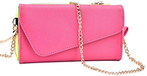 Kroo Clutch Wallet with Wristlet and Crossbody Strap for Smartphones or Phablets up to 5.7 Inch - Carrying Case - Frustration-Free Packaging - Magenta and Yellow