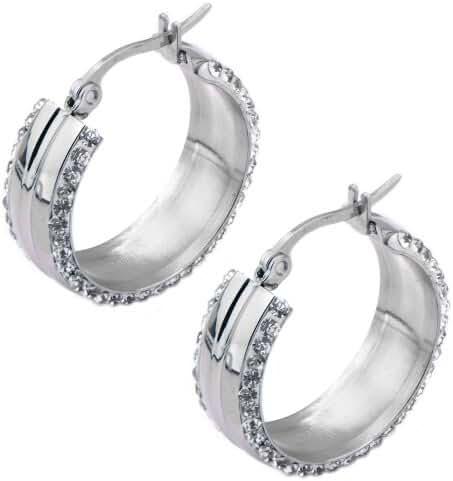 INOX 316L Stainless Steel 20mm Double Sided Ferido Crystal Hoop Earrings