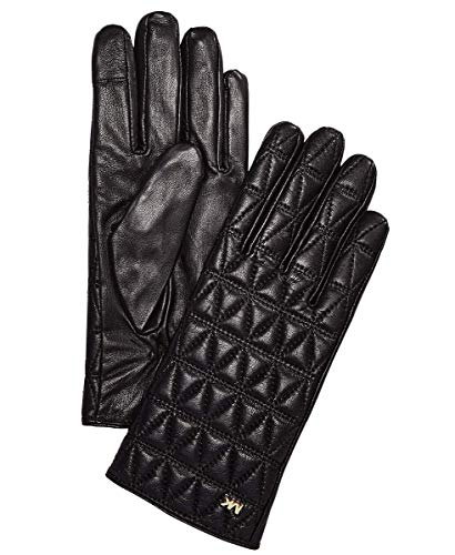MICHAEL Michael Kors Women's Quilted Leather Gloves Black/Gold Large