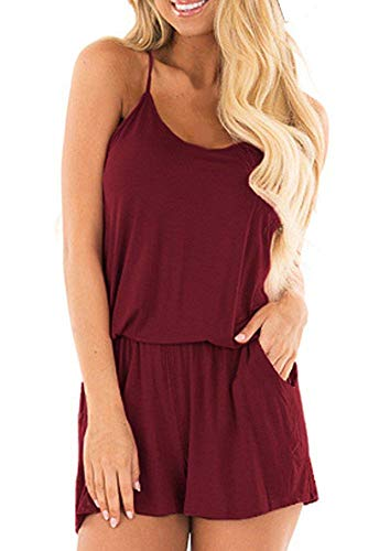 (BLUETIME Womens Summer Rompers Cute Casual One Piece Jumpsuits (M, Wine)