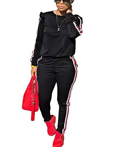 Akmipoem Sweatsuit Jumpsuits for Women Ruffle Sleeve Sweatshirt and Sweat Pants Set Tracksuits Black ()