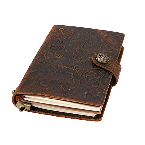 Small Leather Notebook Journal - Refillable Travel Journal | Hand-Crafted Genuine Leather Travelers Notebook- Perfect Gift for Men or Women, Writing, Poets, as a Diary or Life Planner | 6.9x4.3in