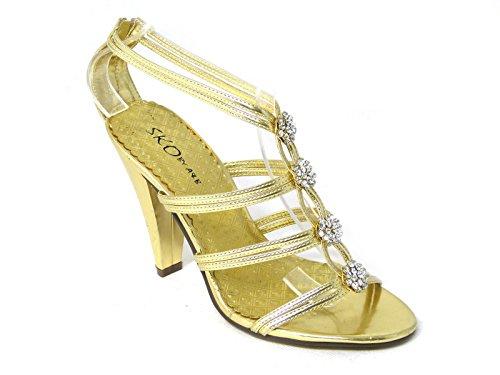 Damen-Pumps mit Pfennigabsatz, für Braut, Hochzeit, Ball, Party, klassischer Look Gold (6)