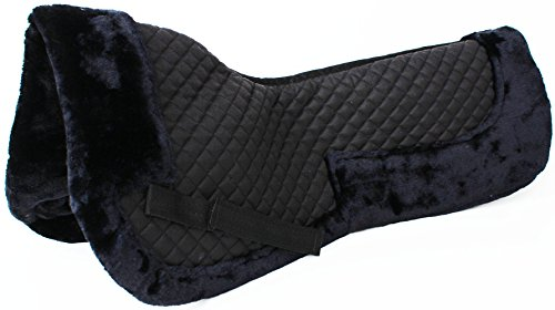 Wither Relief Saddle Pad - Challenger Horse English Quilted Half SADDLE Pad Correction Wither Relief Fur Black 12218BK