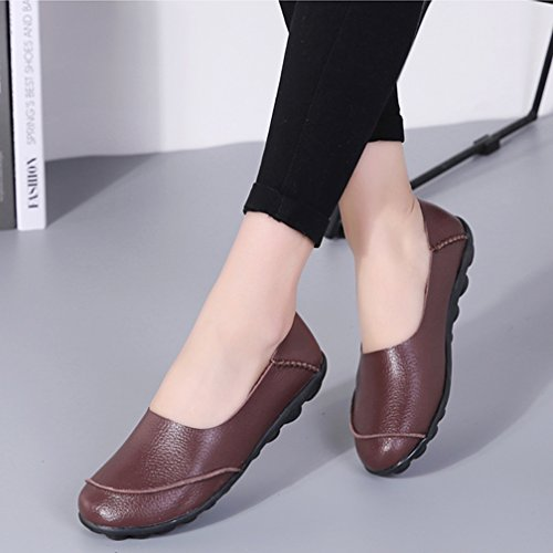 Loafers Driving Casual Leather Walking Soft Moccasins amp; Ons Hishoes Women's Flats Slip Sole Shoes Coffee wq0nx1fEfz